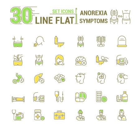 starvation: Vector set graphic logo, icon. Anorexy. Concept psychological disease. Vomitig, weight loss. Symptoms, disorder. Linear, flat, contour, thin. App, template, infographic. Symbol, element, emblem. Illustration