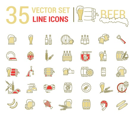 barell: Vector set on the subject of beer and brewing in a linear design. The elements of brewing, the image of glasses and barrels of beer. Illustration