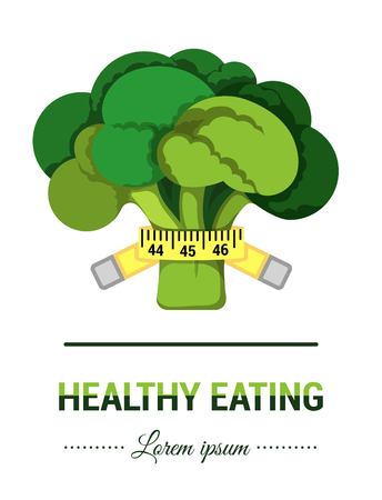 vegetarianism: Vector illustration of broccoli in flat design. Image of cauliflower for print or web site or application. Symbol of healthy eating, vegetarianism, agriculture, fresh market, shop organic.