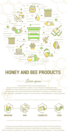 illustration for advertising: Flat line illustration of honey and bee products for card, advertising flyer , poster. Concept for catalog design, illustration for advertising cards and printed materials. Template for banner.