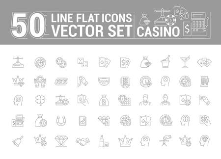 slot in: Vector graphic set of icons in flat, contour, thin and linear design. Slot machine, casino, poker. Gambling. Concept infographic for Web site and app. Online card game. Illustration