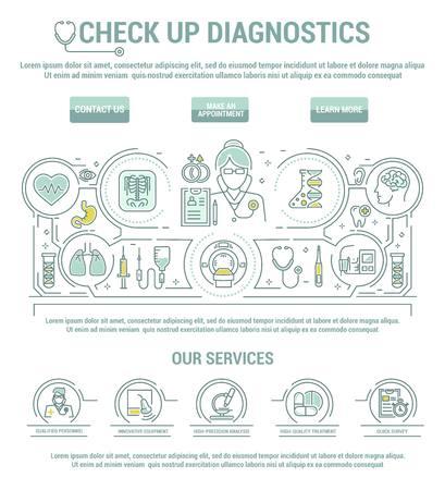 deviation: Vector graphic set. Line, contour, thin, flat design. Clinic, medical, center, check up, hospital. Diagnosis, disease, complex treatment body. Template, top internet web site main page. Health care.