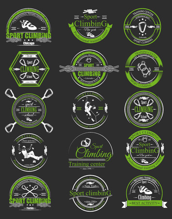 descender: The set of symbols, silhouettes the figures of the climbers.Collection of logos for sport competitions of the championship. Set of emblems with equipment for school and training center.