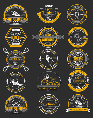 descender: Climbing equipment vector set. Collection sport logo, badge and sign with vector sports elements, climbers and equipment. Illustration