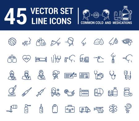 Vector graphic set in linear design. symbol and element. ?ommon cold. Symptoms. Medicaments tablets, antibiotics, treatment and prevention of disease. Doctor, nurse, stethoscope, blood pressure cuff.
