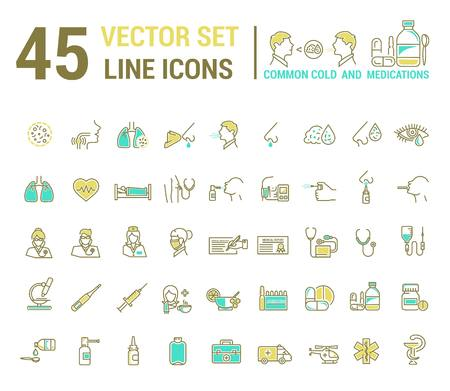 in common: Vector graphic set in linear design. symbol and element. ?ommon cold. Symptoms. Medicaments tablets, antibiotics, treatment and prevention of disease. Doctor, nurse, stethoscope, blood pressure cuff.