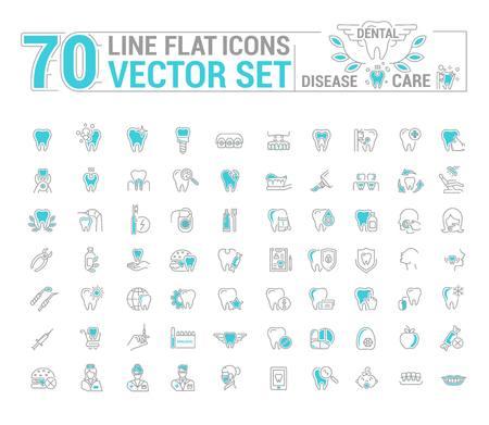 Vector set of flat graphic icon, line, contour, thin design. Dental, dentist. Element, emblem, symbol, logo. Disease, care, dental treatment. Prosthetics, teeth whitening, removal. Web site.