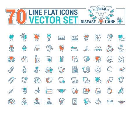 removal: Vector set of flat graphic icon, line, contour, thin design. Dental, dentist. Element, emblem, symbol, logo. Disease, care, dental treatment. Prosthetics, teeth whitening, removal. Web site.