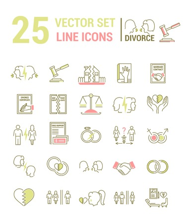 Vector set of icons in a linear design on the subject of divorce and the legal process. The set of elements on the subject of property division, child custody, alimony, infidelity, lawsuits and divorce. template for your website or advertising.