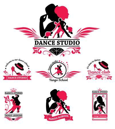 ダンス カップルのロゴを設定します。ダンサーのタンゴのイラスト。人がダンスを設定します。文字はタンゴのセットです。タンゴ スタジオ ポス