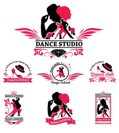 Set logo of dancing couple. Dancer tango illustrations. Dancing people set. The character set for tango. Use for tango studio poster, flayer, web-sites. Tango inscription. Stock Illustratie