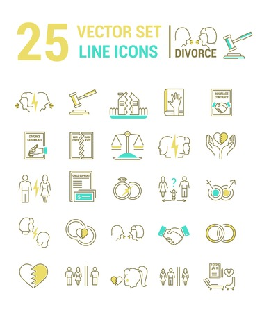 severance: Vector set of icons in a linear design on the subject of divorce and the legal process. The set of elements on the subject of property division, child custody, alimony, infidelity, lawsuits and divorce. template for your website or advertising.