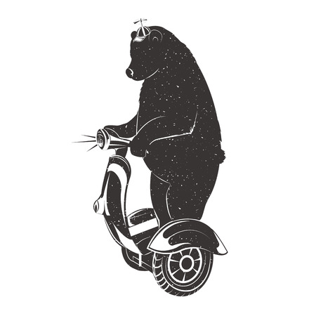 Bear on Two-wheeled Self-balancing electric scooter. Bear Symbol Can be used for T-shirts print, labels, badges, stickers and logotypes. Vector illustrations Illustration