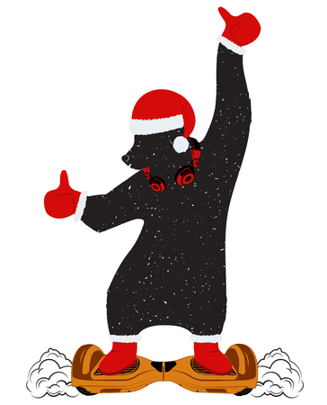 Funny bear in the costume of Santa Claus on a new modern two-wheeled self-balancing mini electric scooter without handles, bike, platform, bike Board