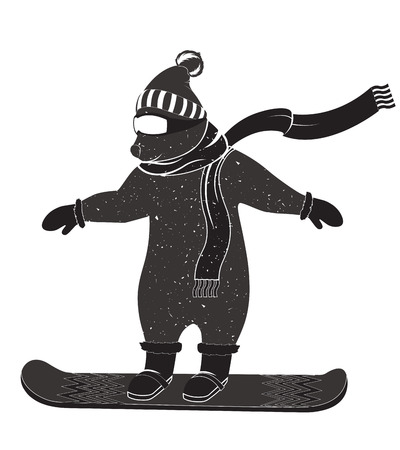 Funny bear riding a snowboard on a white background. Illustration of a bear dressed in winter clothes, for your logos posters t-shirts