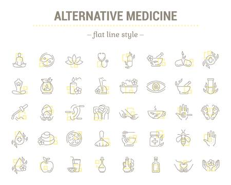 oriental medicine: Vector graphic set.Icons in flat, contour,thin and linear design.Alternative medicine. Natural beauty.Simple isolated icon on white background.Concept illustration for Web site app.Sign,symbol,emblem.