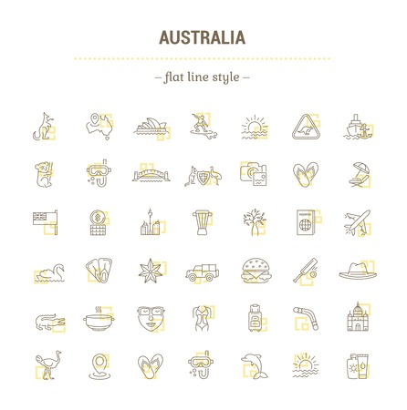 royal safari: Vector graphic set. Silhouette, logo, icon. Australian continent. Linear, flat, contour, thin. App, Web site template. Concept Australian culture, animals, traditions. Sign, element, emblem, symbol.