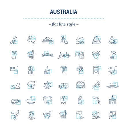 wallaby: Vector graphic set. Silhouette, logo, icon. Australian continent. Linear, flat, contour, thin. App, Web site template. Concept Australian culture, animals, traditions. Sign, element, emblem, symbol.