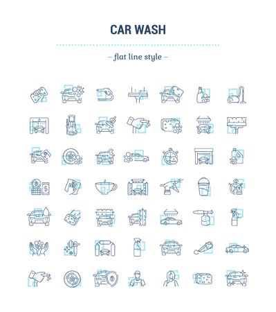 Vector graphic set. Icons in flat, contour, thin and linear design.Car wash. Gear and equipment for washing.Simple icon on white background.Concept illustration for Web site, app.Sign, symbol, emblem.