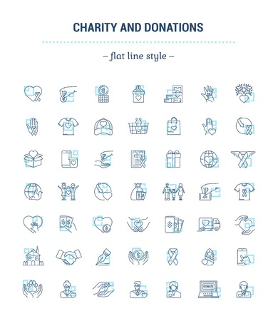 Vector graphic set. Icons in flat, contour, thin and linear design.Charity and donation.Simple icon on white background.Concept illustration for Web site, app.Sign, symbol, emblem. Illustration