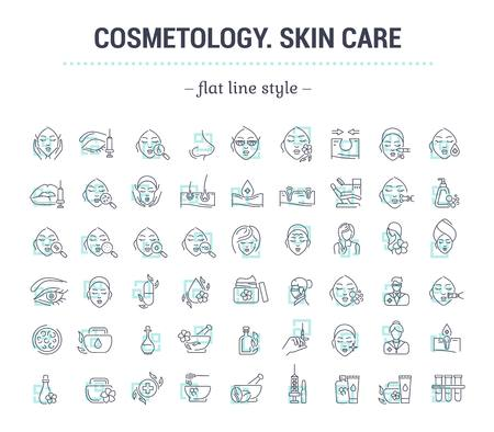 Vector graphic set.Icons in flat, contour,thin and linear design.Cosmetology. Skin care.Simple isolated icons.Concept illustration for Web site app.Sign,symbol,element. Illusztráció