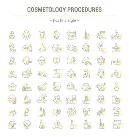 Vector graphic set.Icons in flat, contour,thin and linear design.Cosmetology Clinic. Services, procedures, treatments.Simple isolated icons.Concept illustration for Web site app.Sign,symbol,element.
