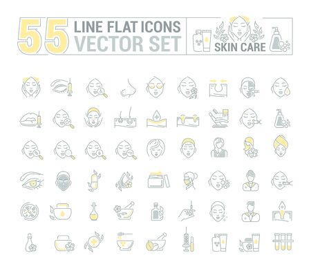 rejuvenation: Vector graphic set.Icons in flat, contour,thin and linear design.Cosmetology. Skin care.Simple isolated icons.Concept illustration for Web site app.Sign,symbol,element. Illustration