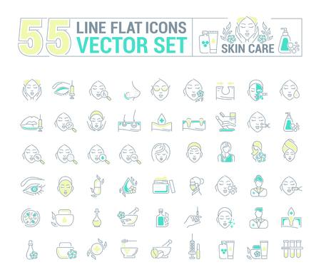 Vector graphic set.Icons in flat, contour,thin and linear design.Cosmetology. Skin care.Simple isolated icons.Concept illustration for Web site app.Sign,symbol,element. Stock Illustratie