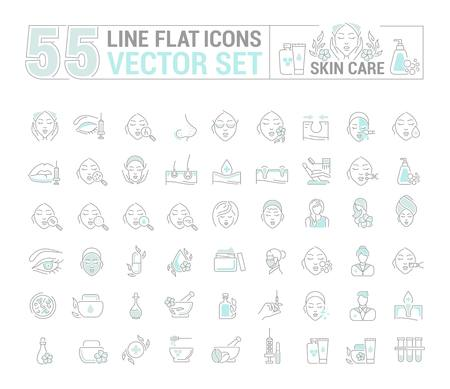Vector graphic set.Icons in flat, contour,thin and linear design.Cosmetology. Skin care.Simple isolated icons.Concept illustration for Web site app.Sign,symbol,element. Иллюстрация