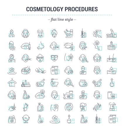 Vector graphic set.Icons in flat, contour,thin and linear design.Cosmetology Clinic. Services, procedures, treatments.Simple isolated icons.Concept illustration for Web site app.Sign,symbol,element. 免版税图像 - 72986510