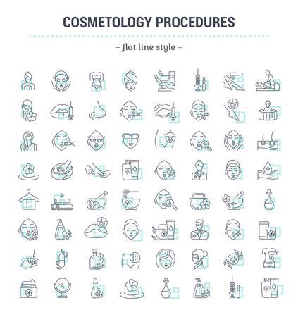 Vector graphic set.Icons in vlakke contour, dun en lineaire design.Cosmetology Clinic. Diensten, procedures, geïsoleerd treatments.Simple icons.Concept illustratie voor website app.Sign, symbool, element. Stock Illustratie