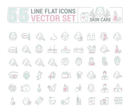 Vector graphic set.Icons in flat, contour,thin and linear design.Cosmetology. Skin care.Simple isolated icons.Concept illustration for Web site app.Sign,symbol,element. Ilustração