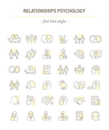 Vector graphic set.Icons in flat, contour,thin, minimal and linear design.Family Psychology. Psychology of marriage.Simple isolated icons.Concept illustration for Web site app.Sign,symbol,element. Illustration