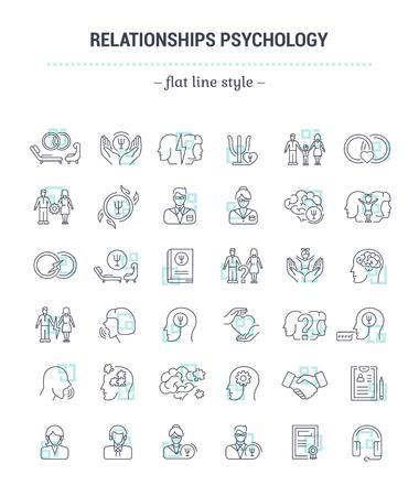 Ensemble graphique vectoriel. Les icônes sont en forme de plat, de contour, minces, minimal et linéaire. Psychologie familiale. Psychologie du mariage. Exemples d'icônes isolées. Illustration de convention pour l'application du site Web. Symbole, symbole, élément.