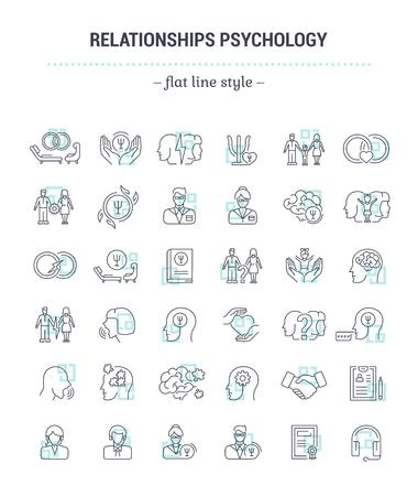 betrayal: Vector graphic set.Icons in flat, contour,thin, minimal and linear design.Family Psychology. Psychology of marriage.Simple isolated icons.Concept illustration for Web site app.Sign,symbol,element. Illustration