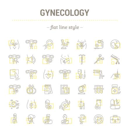 birth control: Vector graphic set.Icons in flat, contour,thin, minimal and linear design.Gynecology, gynecological problem and disease.Simple isolated icons.Concept illustration for Web site app.Sign,symbol,element.