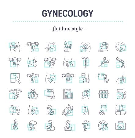 icons: Vector graphic set.Icons in flat, contour,thin, minimal and linear design.Gynecology, gynecological problem and disease.Simple isolated icons.Concept illustration for Web site app.Sign,symbol,element.