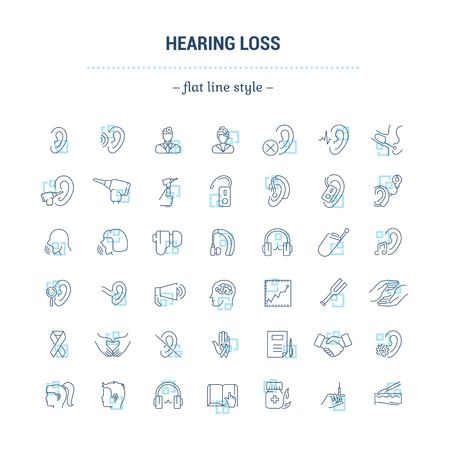 Vector graphic set. Icons in flat, contour,thin, minimal and linear design.Hearing loss. People with disabilities. Simple isolated icons.Concept of web site and app.Sign,symbol, elements.