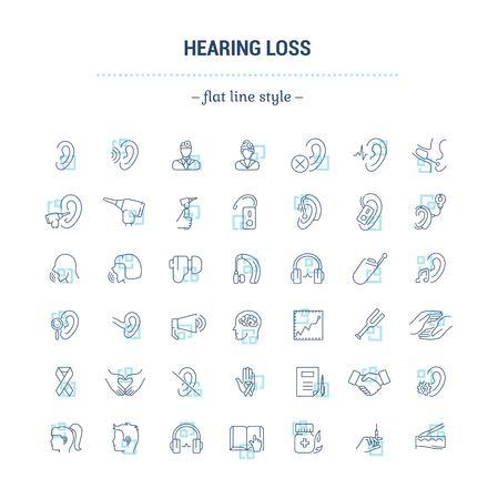 Vector grafische set. Pictogrammen in plat, contour, dun, minimaal en lineair ontwerp. Gehoorverlies. Mensen met een handicap. Eenvoudige geïsoleerde pictogrammen. Concept van website en app. Teken, symbool, elementen.