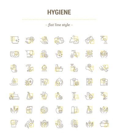 Ensemble de graphiques vectoriels. Icônes au design plat, contour, mince, minimal et linéaire. Protection contre les bactéries. Produits d'hygiène. Mode de vie sain. Icônes isolées simples.