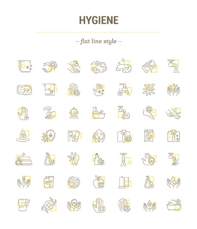 Vector graphic set.Icons in flat, contour,thin, minimal and linear design.Human Hygiene. Protection from bacteria.Hygiene products.Healthy lifestyle.Simple isolated icons.Concept sign,symbol,element. Stock Illustratie