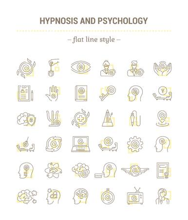 pendulum: Vector graphic set.Icons in flat, contour,thin, minimal and linear design.Hypnosis, psychology. Science of mind control.Simple isolated icons.Concept illustration for Web site app.Sign,symbol,element.