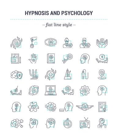 Vector graphic set.Icons in flat, contour,thin, minimal and linear design.Hypnosis, psychology. Science of mind control.Simple isolated icons.Concept illustration for Web site app.Sign,symbol,element.