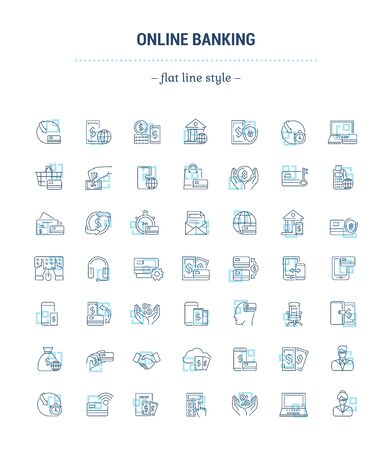 Vector graphic set. Icons in flat, contour, minimal, thin and linear design. Internet banking. Modern technology.Simple icon on white background.Concept for Web site, app. Sign, symbol, emblem. Illustration