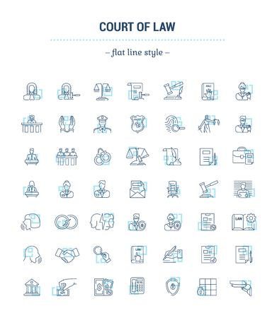 Vector graphic set. Icons in flat, contour, thin, minimal and linear design.Court. Judge. Trial. Simple icons on white background.Concept illustration for Web site, app.Sign, symbol, emblem.