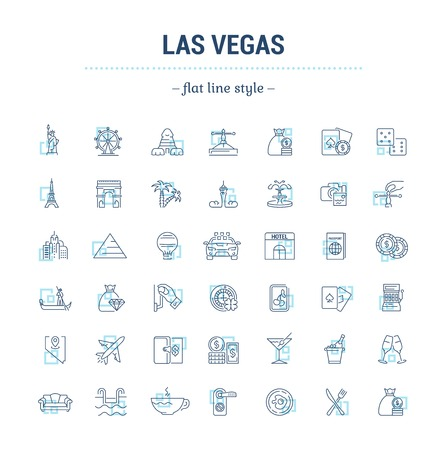 vegas strip: Vector graphic set of icons in flat, contour, thin, minimal and linear design. Las Vegas. Slot machine, casino, poker. Gambling. Concept infographics for entertainment city for Web site and app.Simple isolated icons.Concept illustration for Web site app.S