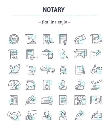 Vector graphic set.Icons in flat, contour,thin, minimal and linear design.Notary office. Paperwork, document notarized.Simple isolated icons.Concept illustration for Web site app.Sign,symbol,element. Illustration