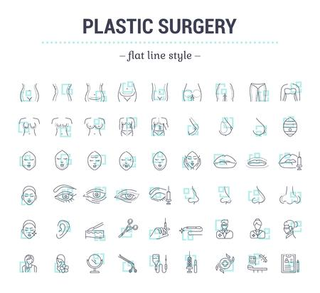 Vector graphic set.Icons in flat, contour,thin, minimal and linear design.Plastic surgery. Set of silhouette.Simple isolated icons.Concept illustration for Web site app.Sign,symbol,element. Иллюстрация