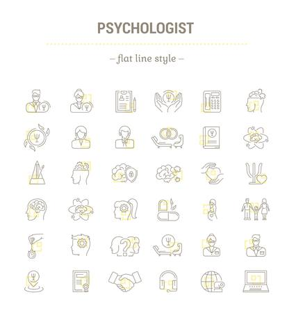Vector graphic set.Icons in flat, contour,thin, minimal and linear design.Psychologist. Types of psychological support. Simple isolated icons.Concept illustration for Web site app.Sign,symbol,element. Illustration