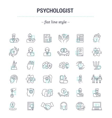 Vector graphic set.Icons in flat, contour,thin, minimal and linear design.Psychologist. Types of psychological support. Simple isolated icons.Concept illustration for Web site app.Sign,symbol,element. Vettoriali